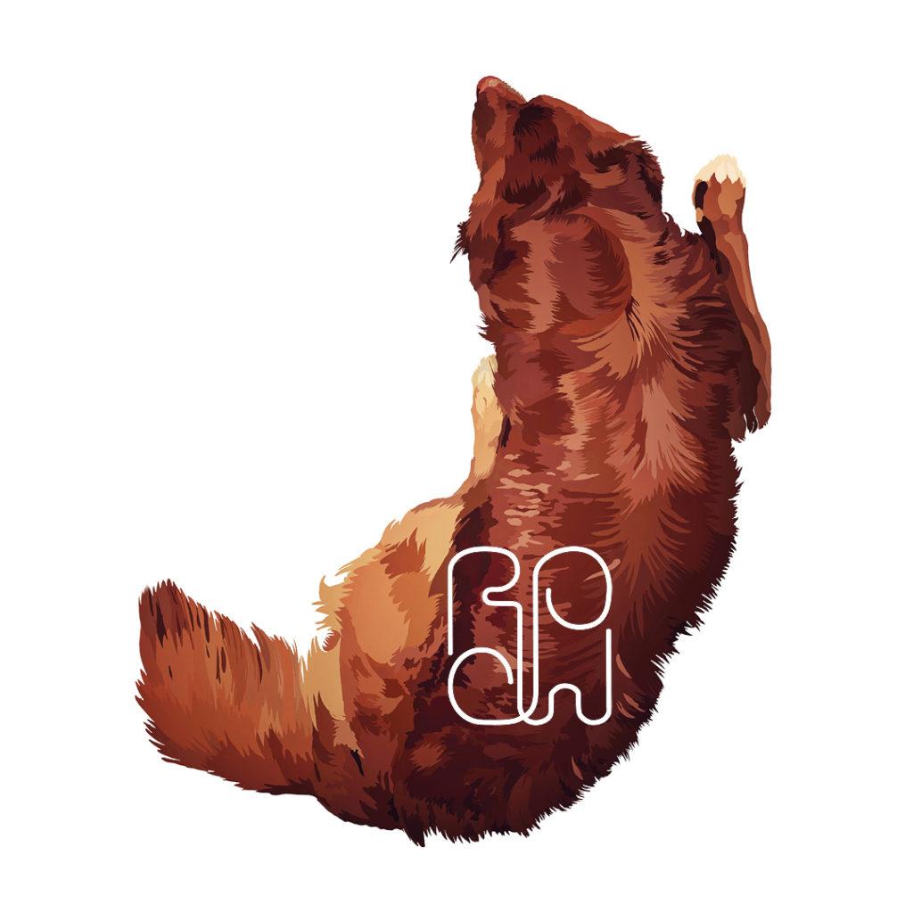 #Toller #jachthond #Boller #digitale tekening geprint op karton. Licht abstracte tekening van huisdier