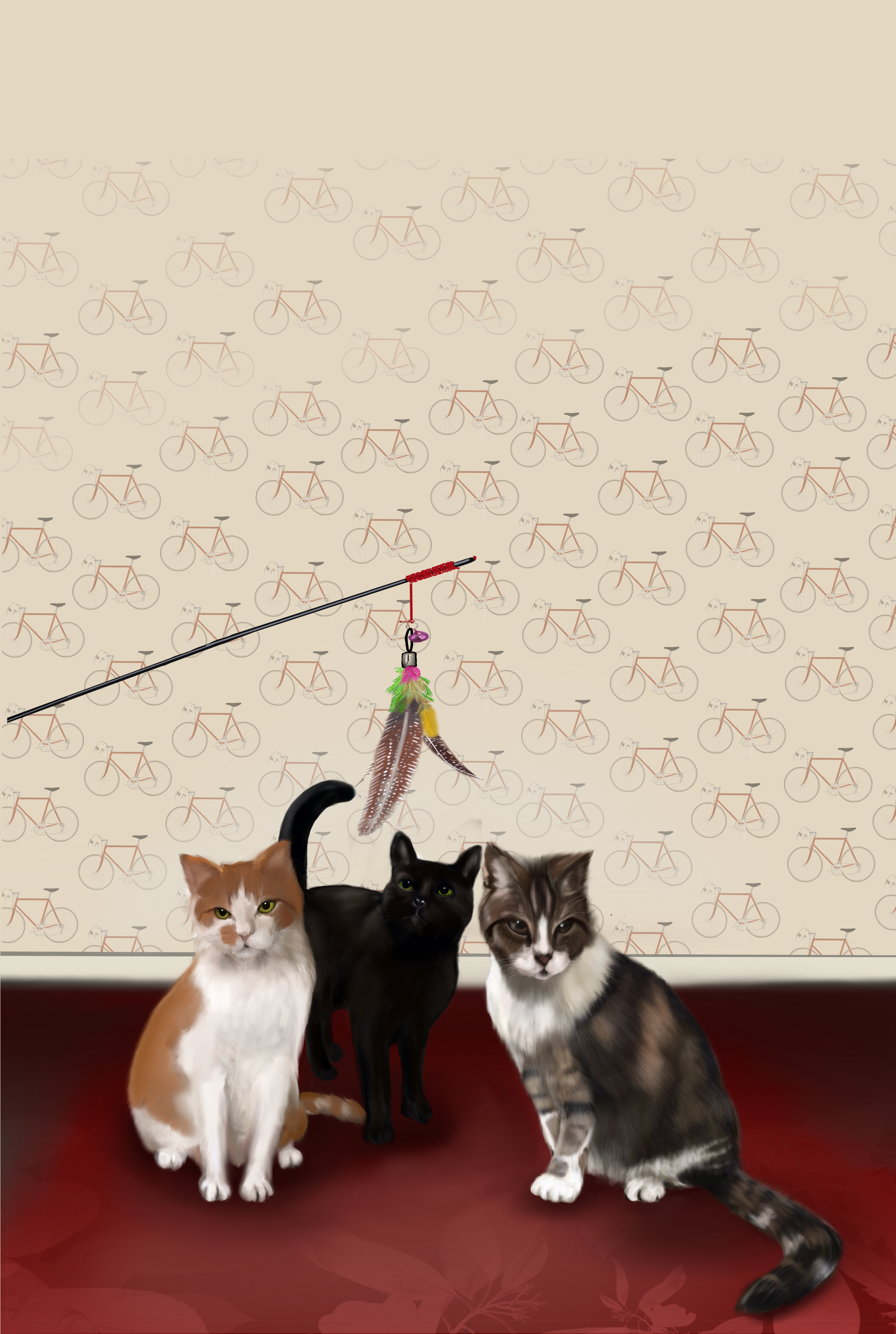 katten op doek